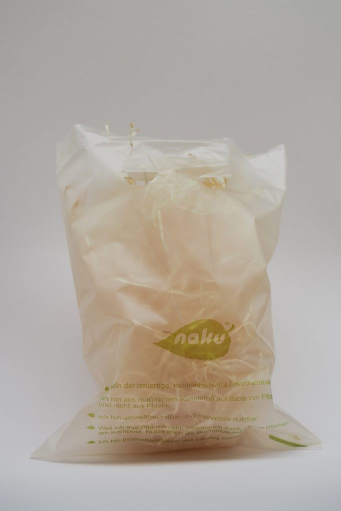Small carry bag made from natural polymers