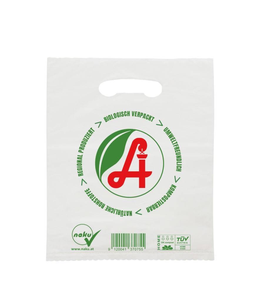 Apothekensackerl aus natürlichem Kunststoff in Grifflochversion
