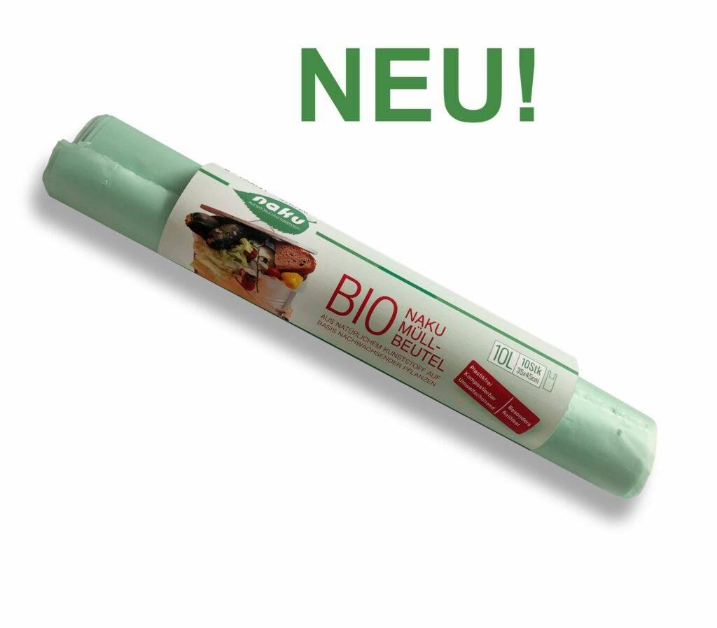 Kompostierbarer NaKu Bio-Müllbeutel aus nachwachsenden, pflanzlichen Rohstoffen.